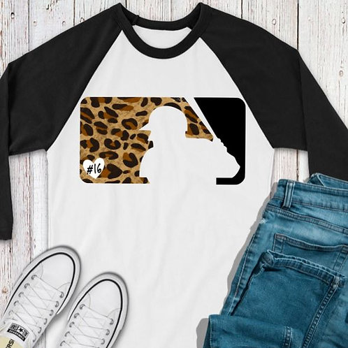 SUBLIMATED TEE RAGLAN Baseball Logo Leopard with Number
