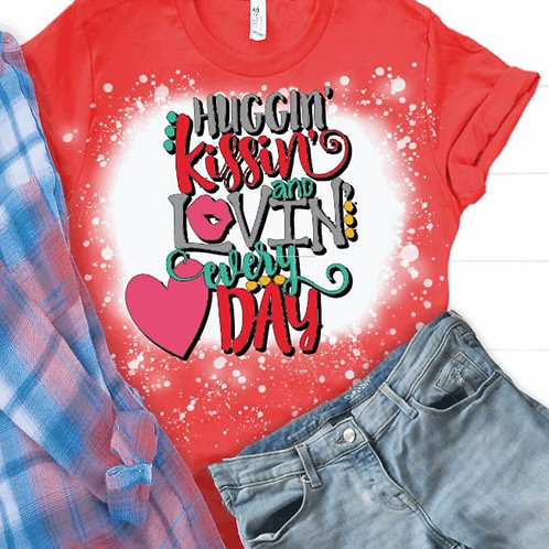 BLEACHED TEE Short or Long Sleeve Valentine Huggin Kissin
