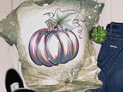 BLEACHED TEE Short or Long Sleeve Pumpkin Outline Watercolor