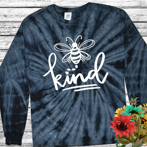 Graphic Tie Dye TEE Long Sleeve Be Kind Spider Navy