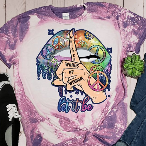 BLEACHED TEE Short or Long Sleeve Let It Be Lips