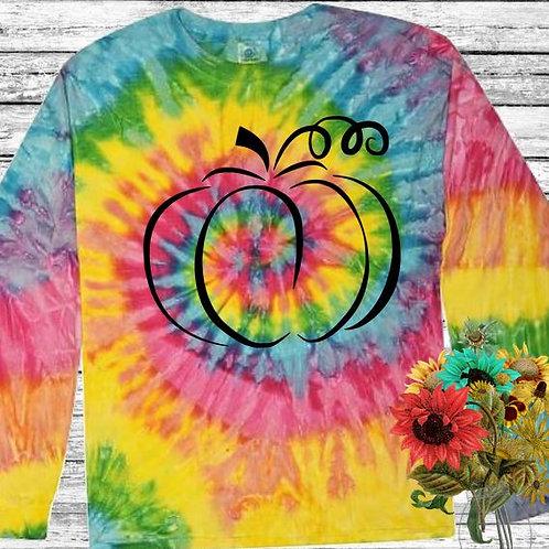 Graphic Tie Dye TEE Long Sleeve Pumpkin Outline in Black MANY COLORS