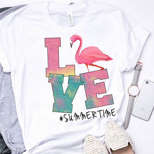 SUBLIMATED TRANSFER ONLY LOVE Summertime Flamingo