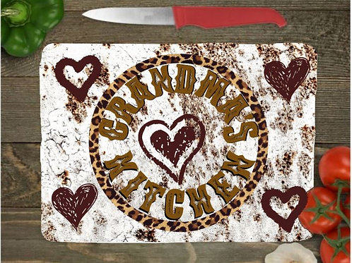 SUBLIMATED Glass Cutting Board Personalized SMALL or LARGE White Rusty