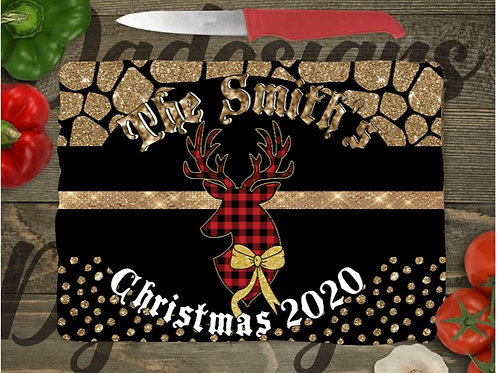 SUBLIMATED Glass Cutting Board SMALL or LARGE Christmas Plaid Deer