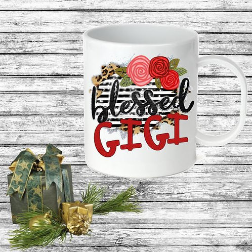 SUBLIMATED Coffee Mug - Blessed Black Stripe ANY NAME