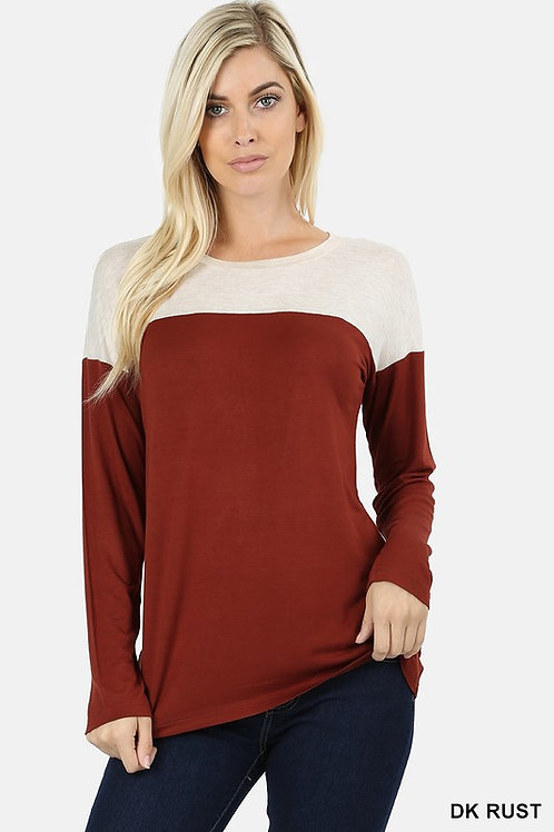 Long Sleeve Drop Shoulder Contrast Yoke Shirt Rust/Tan