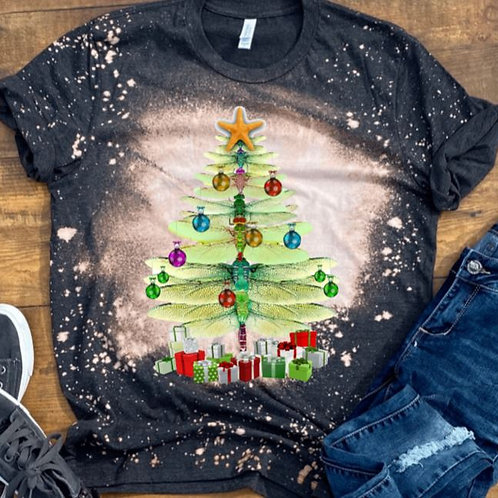 BLEACHED TEE Short or Long Sleeve Christmas Dragonfly