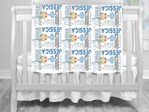 Personalized SUBLIMATED Baby Blanket Princess