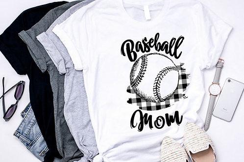 SUBLIMATED TEE Short or Long Sleeve Scribble Baseball Mom Black Plaid
