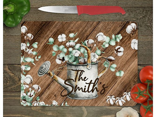 SUBLIMATED Glass Cutting Board Personalized SMALL or LARGE Cotton Vintage