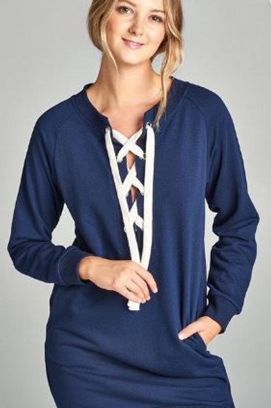 Long Raglan Sleeve Lace-up French Terry Dress Shirt Navy
