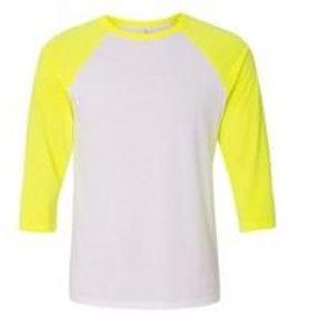 Bella & Canvas Unisex 3/4 Sleeve Raglan Tee Neon Yellow/White