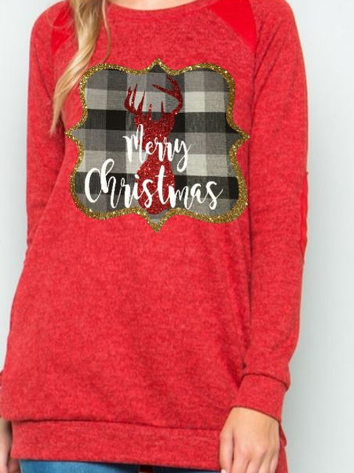 Brushed Knit Elbow Patched Long Sleeve Tunic Plaid Christmas Deer Red