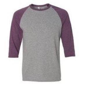 Anvil Unisex 3/4 Sleeve Raglan Tee Heather Purple/Grey