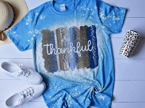BLEACHED TEE Short or Long Sleeve Thankful Backsplash Blue