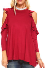 Cold Shoulder Ruffle Top Long Sleeve Shirt Burgundy