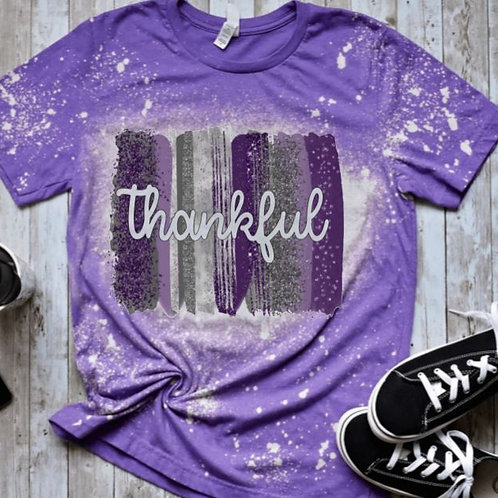 BLEACHED TEE Short or Long Sleeve Thankful Backsplash Purple