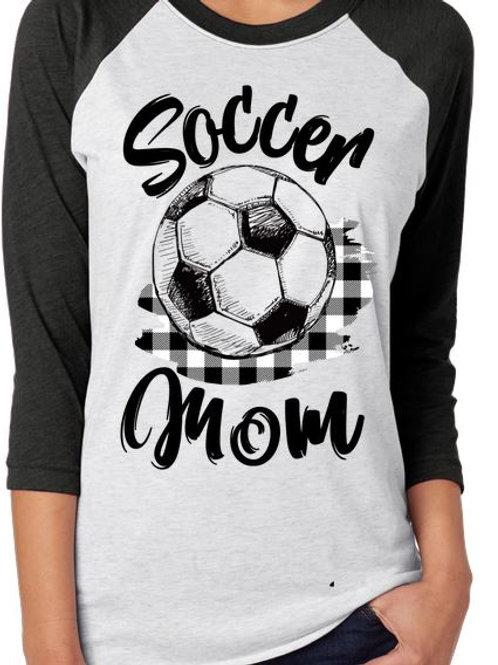 SUBLIMATED RAGLAN Scribble Soccer Mom Black Plaid