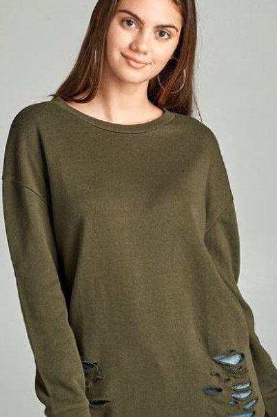 Dropped Long Sleeve Distressed French Terry Tunic Shirt Olive