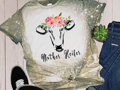 BLEACHED TEE Short or Long Sleeve Mother Heifer