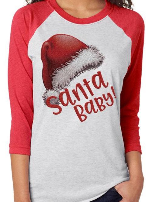 SUBLIMATED RAGLAN Santa Baby Red Hat