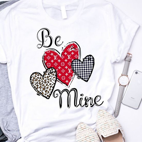 SUBLIMATED TRANSFER ONLY Valentines Be Mine Louis 3 Hearts Red