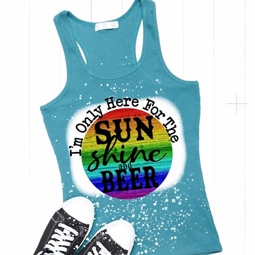 BLEACHED TANK TOP or TEE Sunshine and Beer