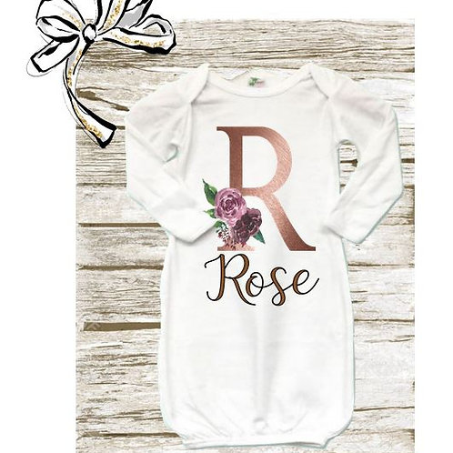 SUBLIMATED Baby Gown with Mittens Floral Initial with Name White