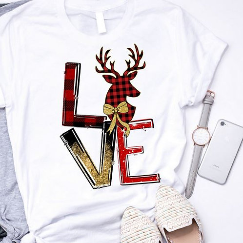 SUBLIMATED TEE Short or Long Sleeve LOVE Christmas Deer Head