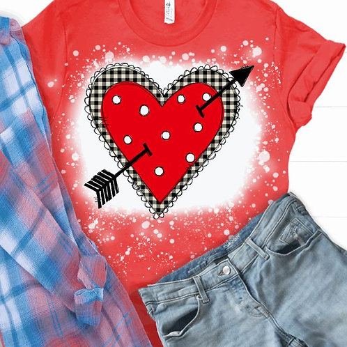 BLEACHED TEE Short or Long Sleeve Valentine Red Heart with Arrow Plaid