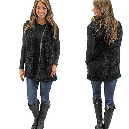 Fur Vest with Pockets Black