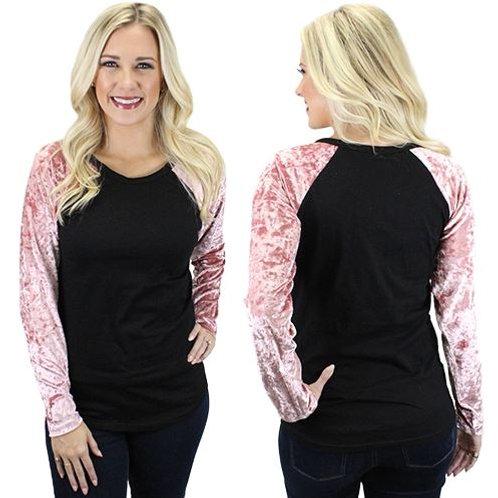 Velvet Raglan 3/4 Sleeve Shirts Adult Pink