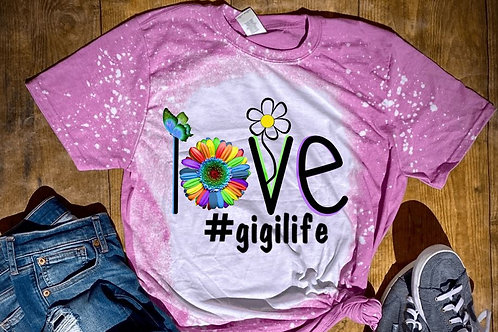 BLEACHED TEE Short or Long Sleeve Valentine LOVE Multi Sunflower #ANY NAME