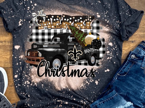 BLEACHED TEE Short Sleeve or Tank Merry Christmas Truck Football PRO ANY TEAM