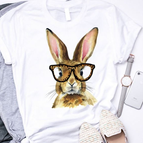 SUBLIMATED TRANSFER ONLY Brown Easter Bunny with Glasses