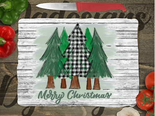 SUBLIMATED Glass Cutting Board SMALL or LARGE Merry Christmas Green Plaid Trees