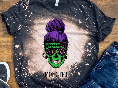 BLEACHED TEE Short or Long Sleeve Halloween Momster Skull