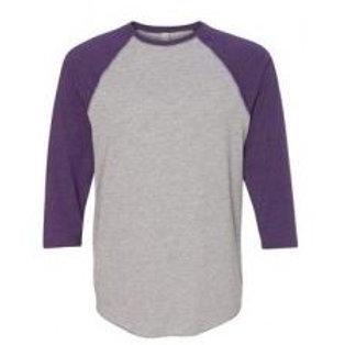 LAT Unisex 3/4 Sleeve Raglan Tee Vintage Purple/Grey