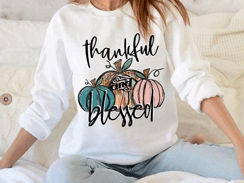 SUBLIMATED Sweatshirt Thankful Blessed 3 Pumpkins