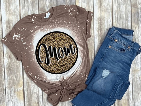 BLEACHED TEE Short or Long Sleeve Mom Leopard Circle