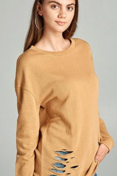 Dropped Long Sleeve Distressed French Terry Tunic Shirt Mustard