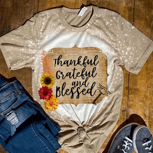 BLEACHED TEE Short or Long Sleeve Thankful Grateful Blessed Burlap