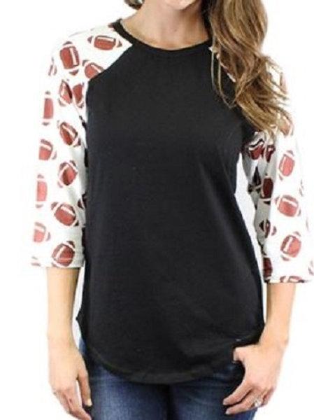 Football Raglan 3/4 Sleeve Shirts Adult Black