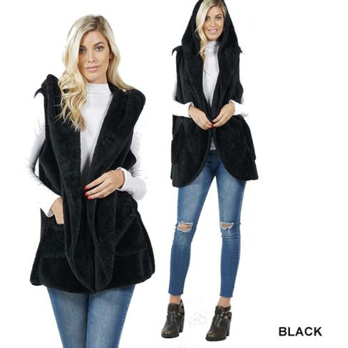Faux Fur Hoodie Vest with Side Pockets Black