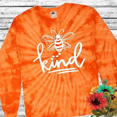 Graphic Tie Dye TEE Long Sleeve Be Kind Spider Orange