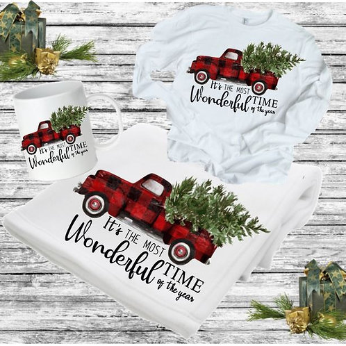 SUBLIMATED BLANKET SET - Blanket, Mug Long Sleeve Tee Most Wonderful Time of Yea