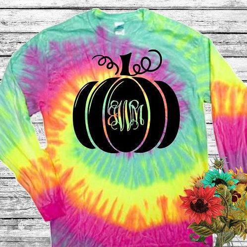 Graphic Tie Dye TEE Long Sleeve Pumpkin Monogram in Black MANY COLORS