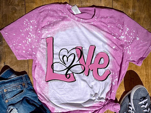 BLEACHED TEE Short or Long Sleeve Valentine Love Open Heart Pink