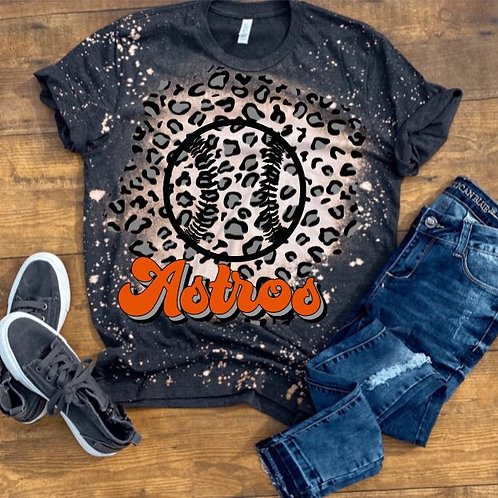 BLEACHED TEE Short Sleeve or Tank Leopard Background Baseball ANY TEAM